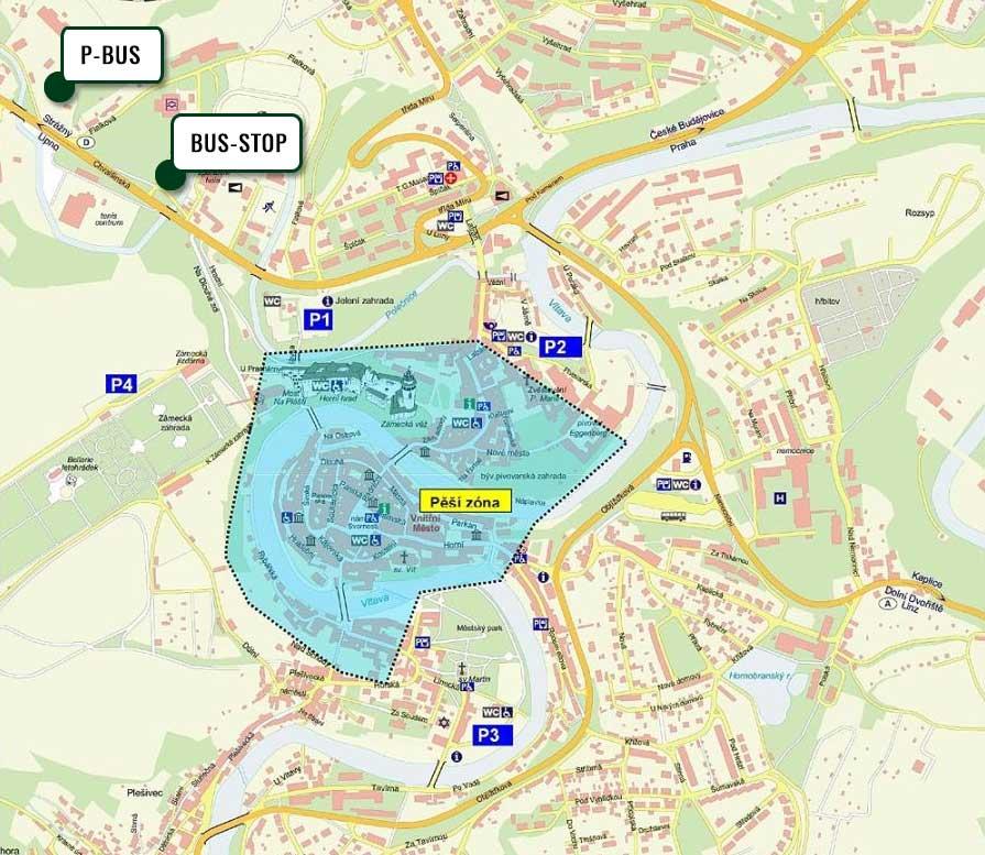 Bus Parking Český Krumlov - mapa
